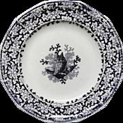 Antique Ironstone SEAWEED Aesthetic Transferware Plate ~ SEASHELLS 1876