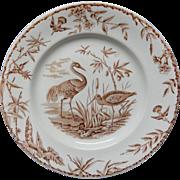 Antique Brown Transferware Plate ~ Outrageous Birds INDUS 1885