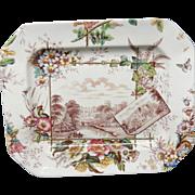 Antique Brown Transferware English Views PLATTER ~  ANGLAIS 1883