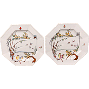 TWO Antique Aesthetic Movement Plates ~ Birds and Butterflies 1879