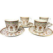 Four Brownfield Cups & Saucers ~ CYPRUS 1880