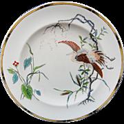 Antique Royal Worcester Polychrome Plate ~ Rare EGRET 1877