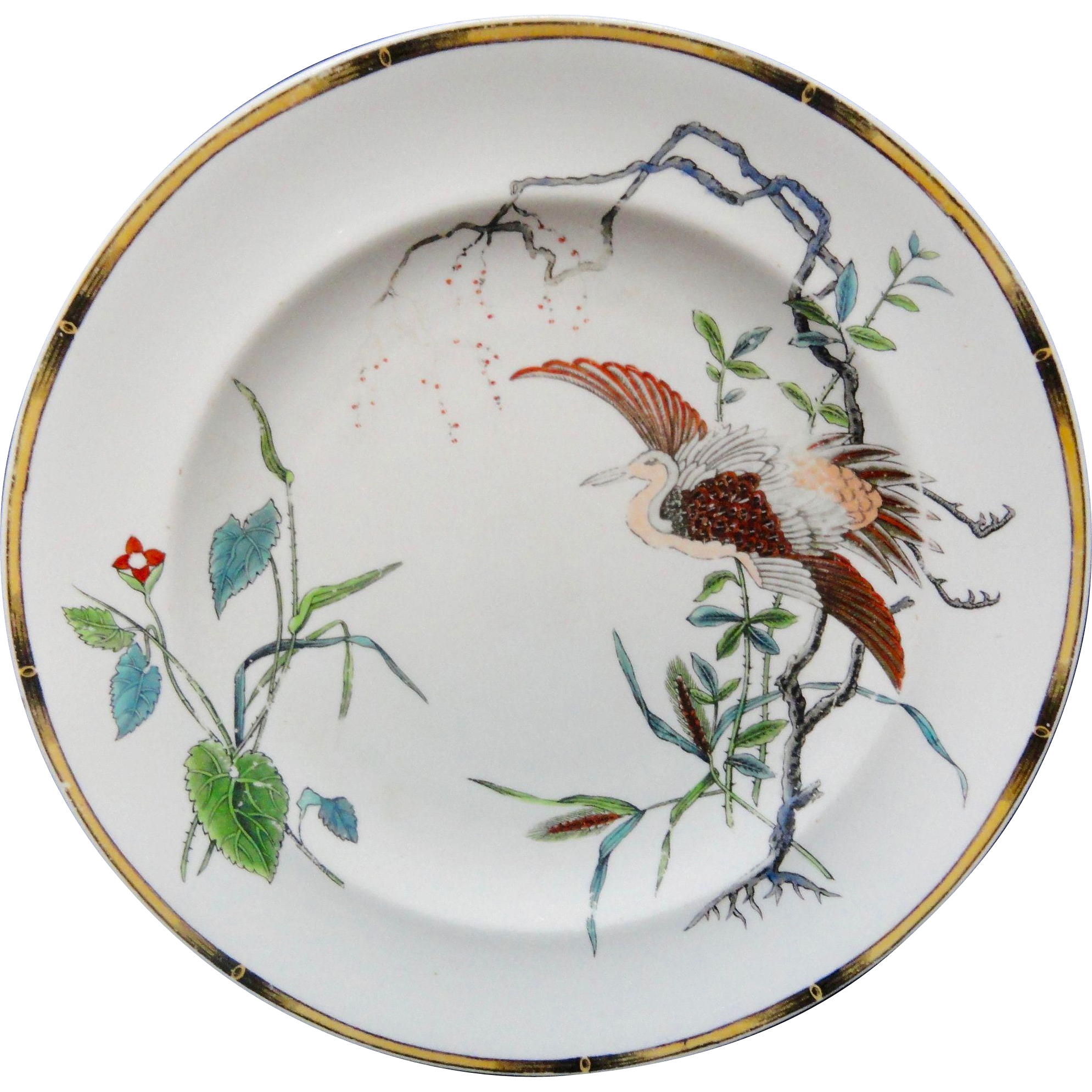 Antique Royal Worcester Polychrome Plate ~ Rare EGRET 1877