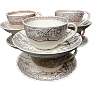 Six Antique BROWN Transferware Cups & Saucers ~ MELBOURNE 1883