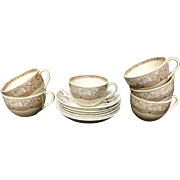 Six Antique BROWN Transferware Tea Cups & Saucers ~ MELBOURNE 1883