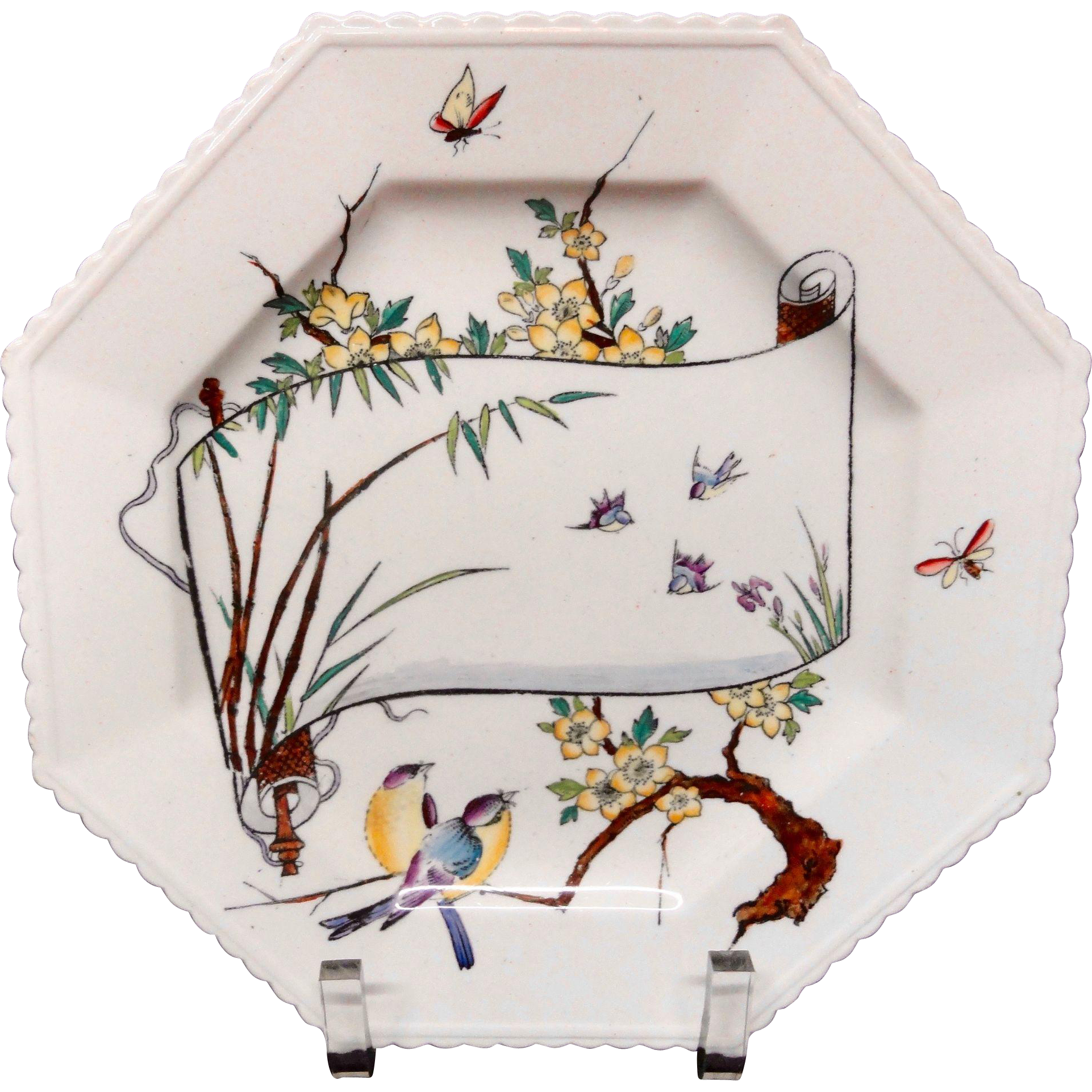 Antique Aesthetic Movement Plate ~ Birds and Butterflies 1879