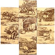 Set of Seven English William Wise Farm Animal Tiles 1879
