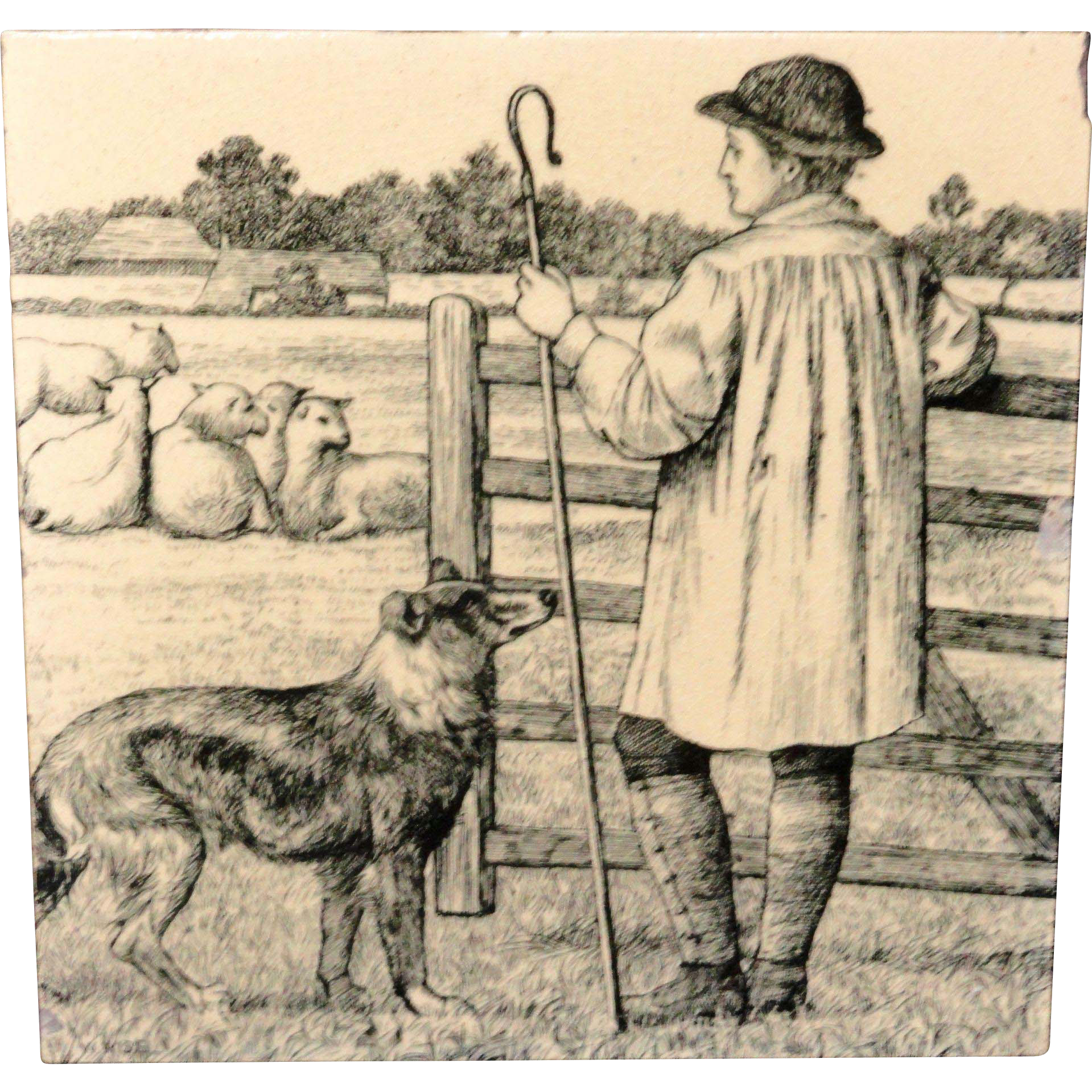 Signed Minton Tile ~ Wm Wise Farm ~ Sheep Sheppard 1879