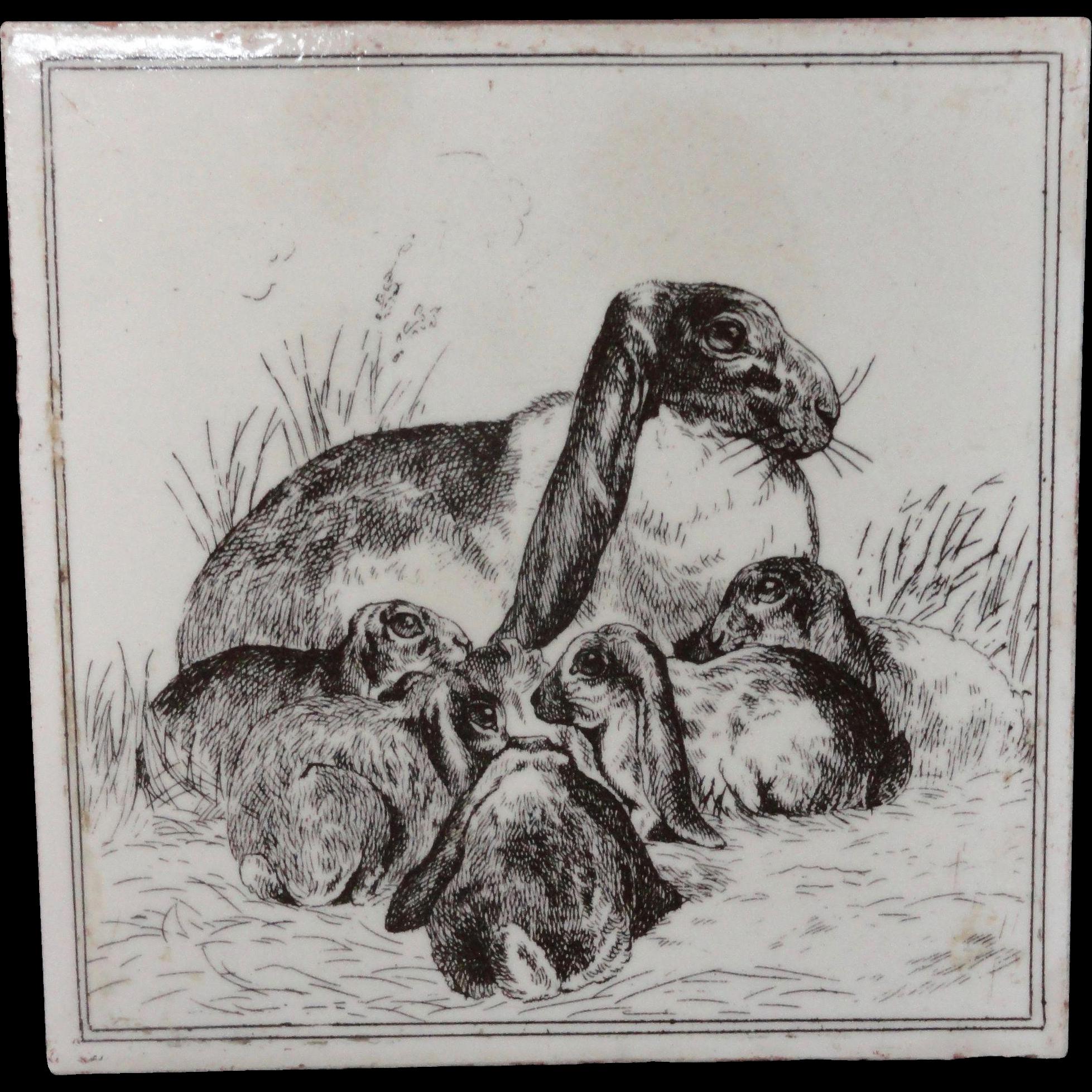 Brown Transferware Tile Victorian ~ Rabbits 1885