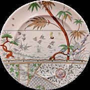 Antique Melbourne Aesthetic Movement Polychrome Plate ~ 1883