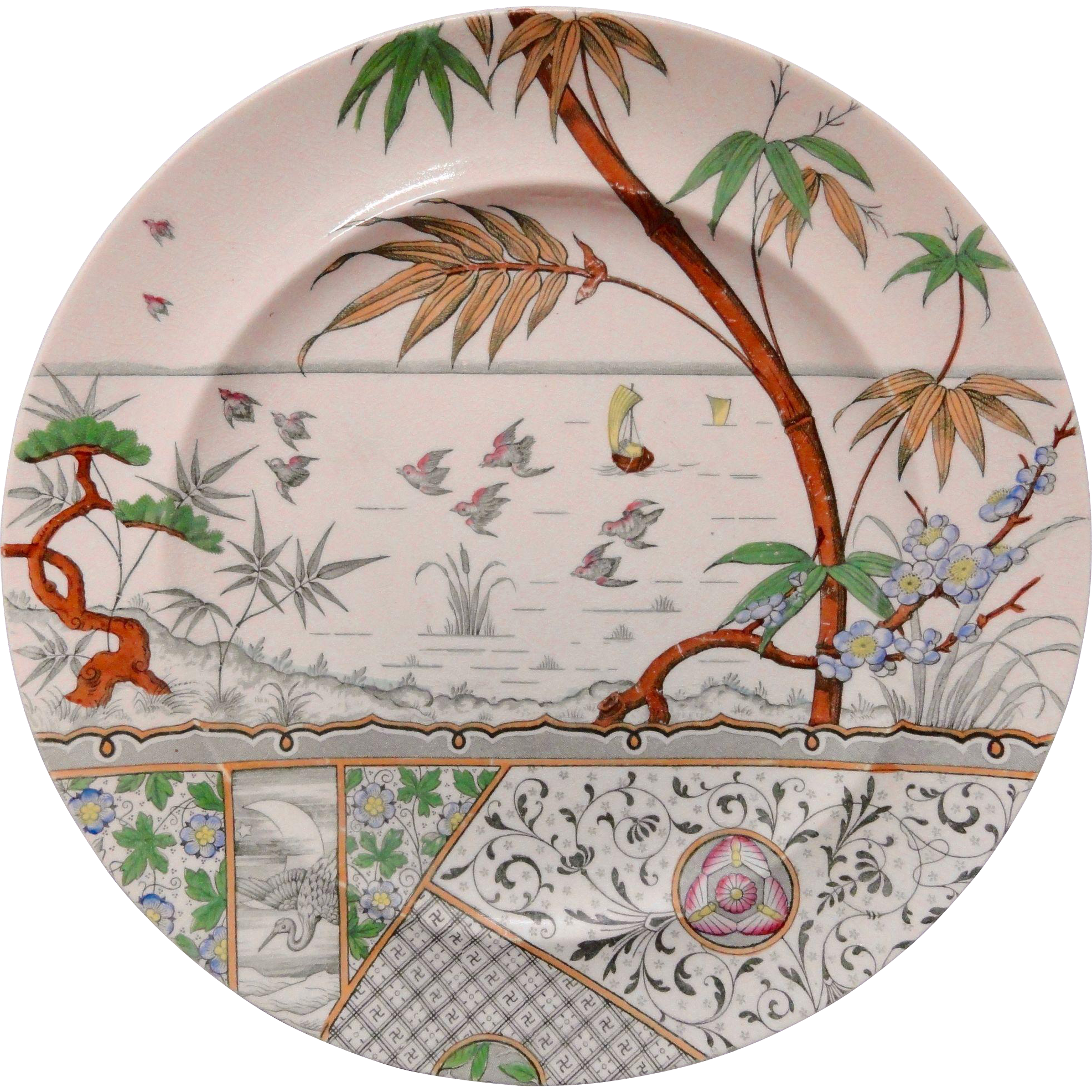 Antique Melbourne Aesthetic Movement Polychrome Plate ~ 1883
