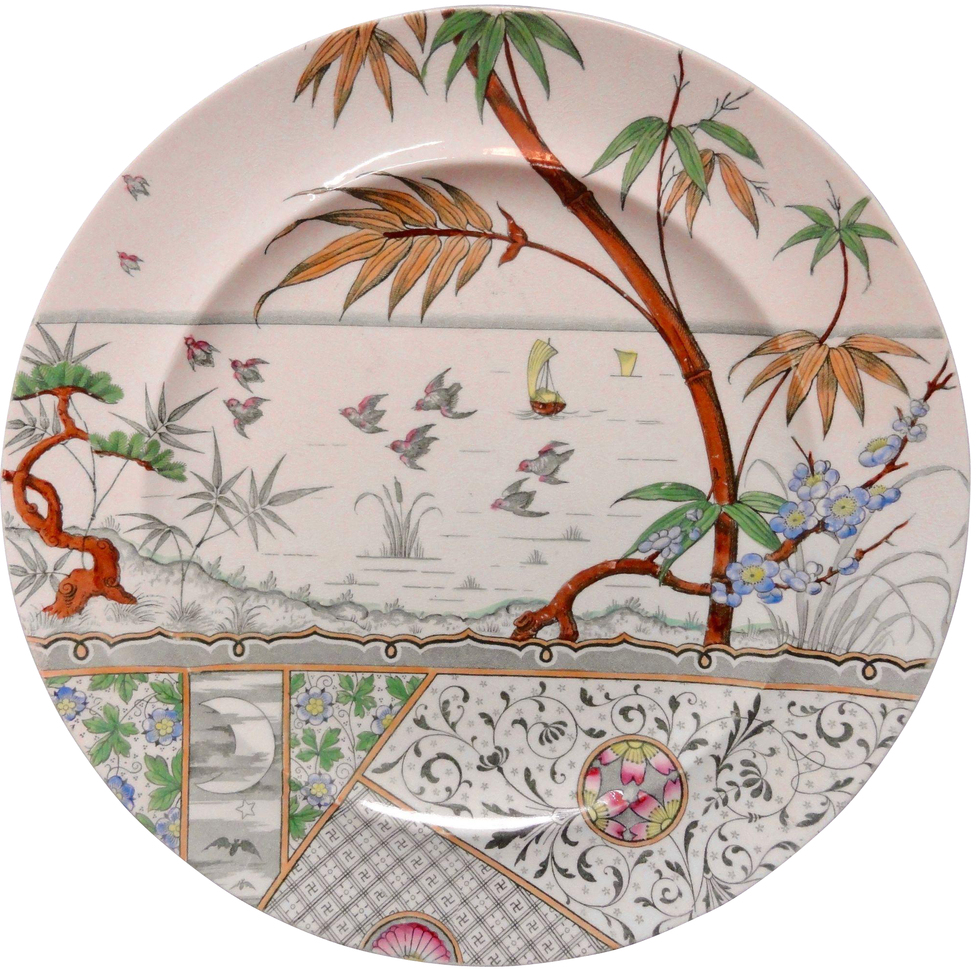 Antique  Melbourne Polychrome BATS MOON Transferware Plate ~ 1883
