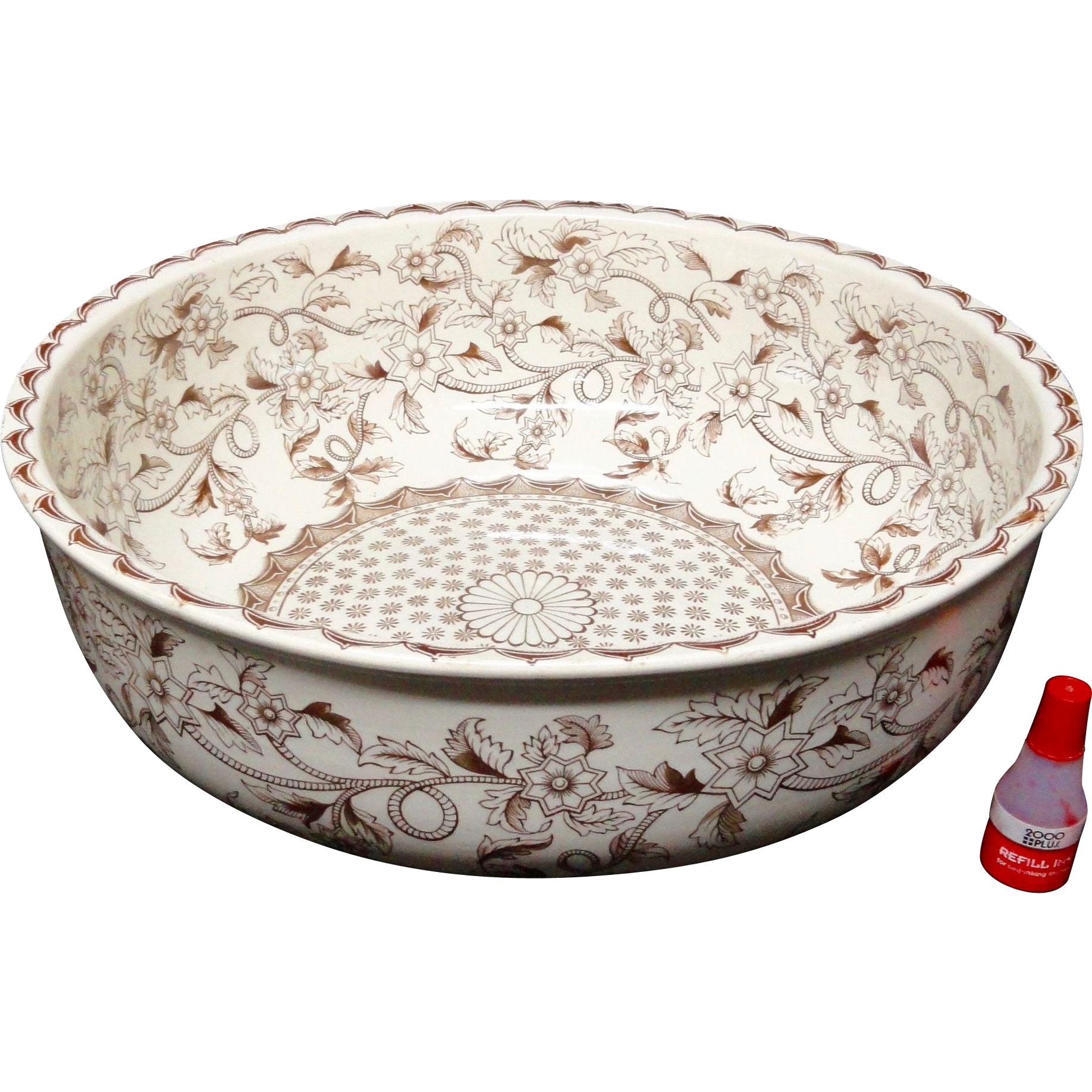 Huge Wash Bowl ~ Straight Sided Brown Transferware ~ Copeland 1883