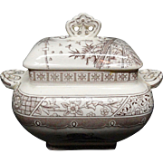 Staffordshire Tureen 1883 ~ Brown Transferware MELBOURNE