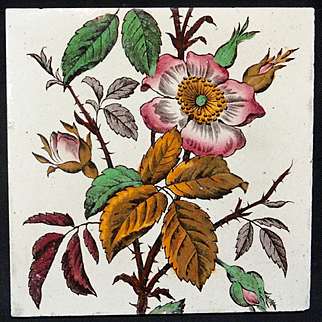 Victorian Brown Transferware Polychrome Tile ~ WILD ROSE 1885