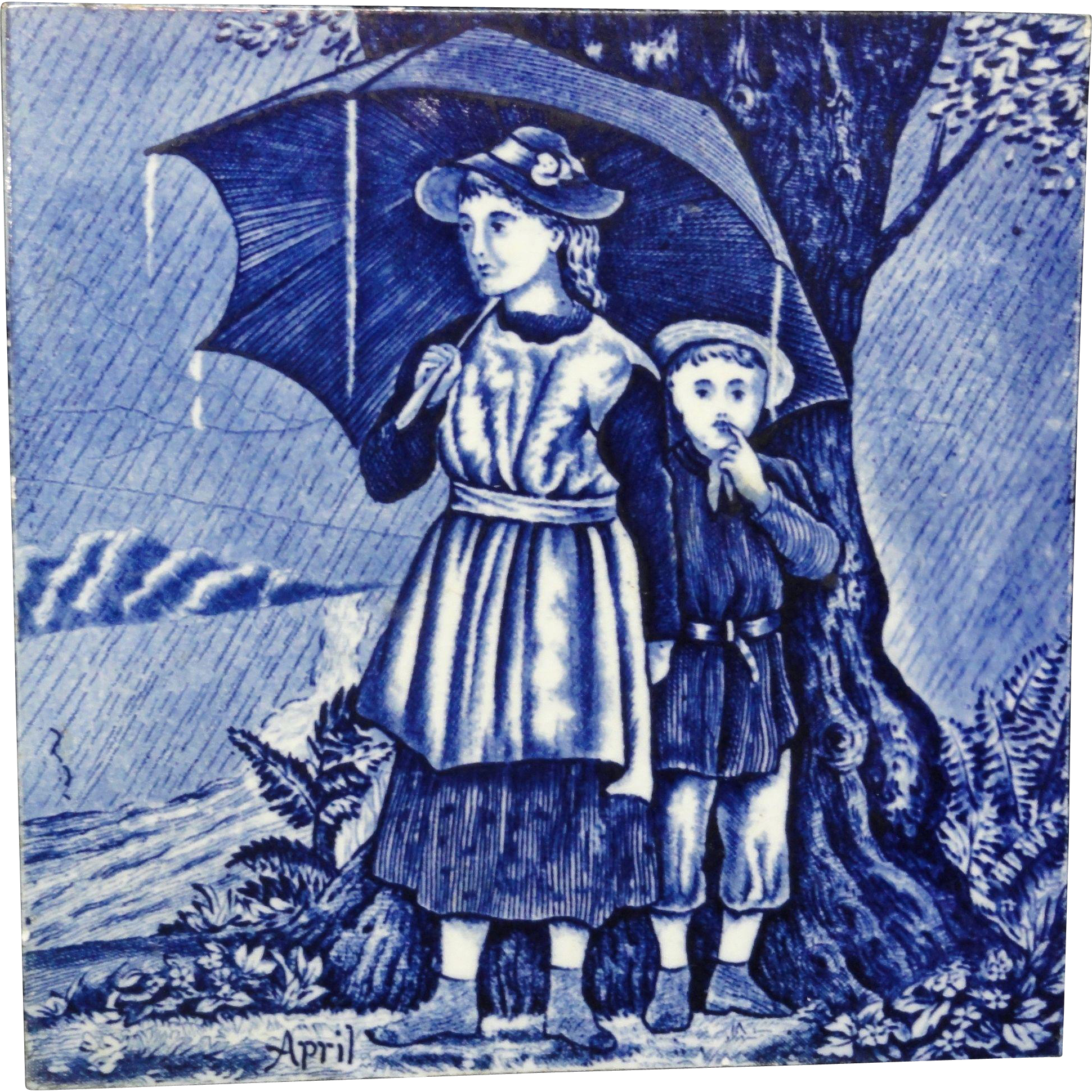 Tile ~ Wedgwood Months ~ APRIL Showers ~ 1879