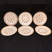 6 ~ Antique Victorian Polychrome Brownware Plates ~ CYPRUS 1885