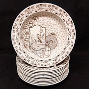 12 ~ Antique Victorian Brown Transferware Soup Plates ~ DEVONSHIRE 1885