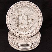 TEN ~ Staffordshire Brown Transferware Plates ~ Devonshire ~ Rooster ~ Fish 1885