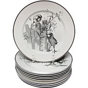 10 ~ Pierre Mallet Large Rare Brown Transferware ORNITHOLOGY Plates ~ 1870