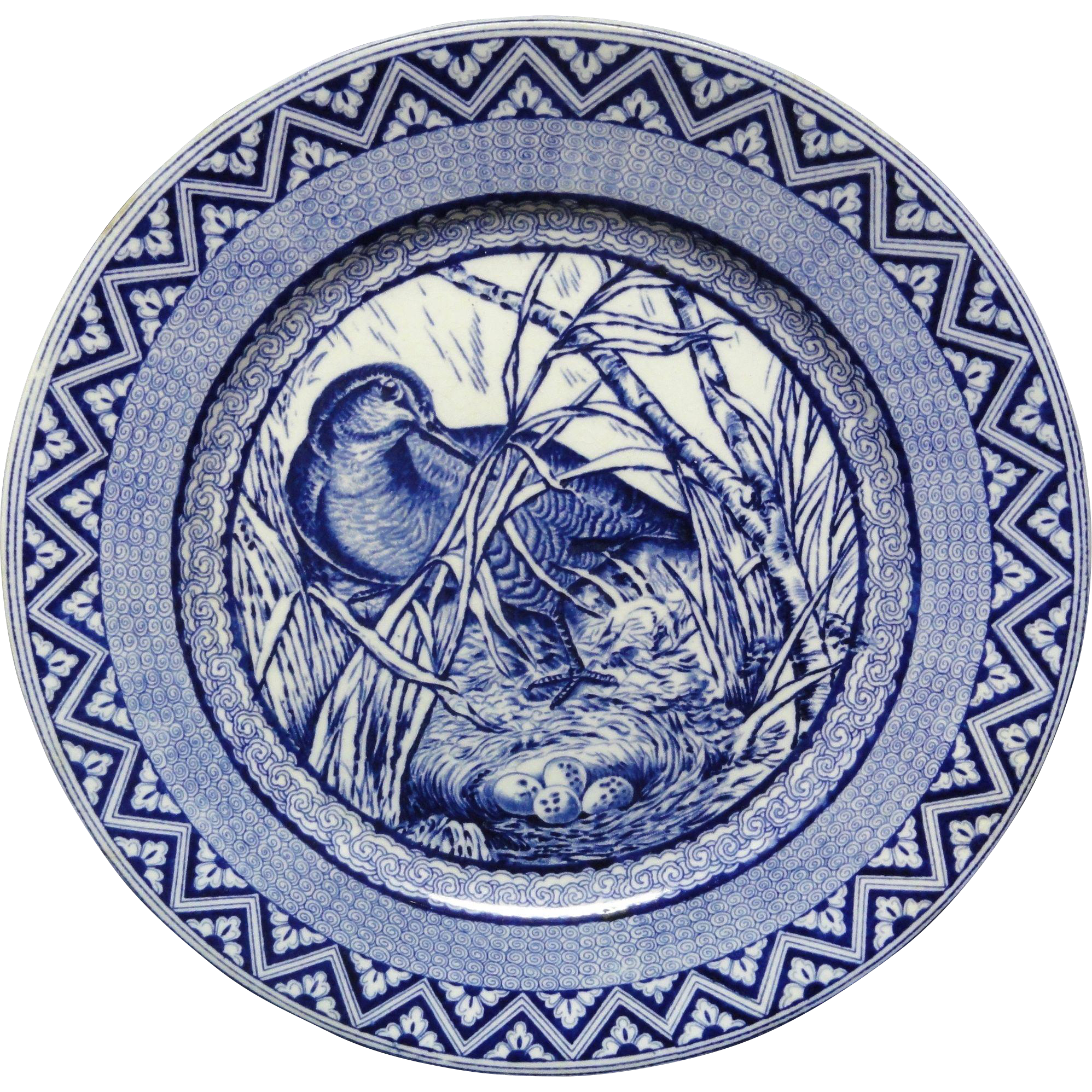 Wedgwood Blue Transferware Plate ~ Wood Duck with Nest and Eggs ~ 1885