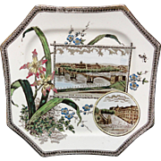 GERMANY Brown WORLD Transferware Plate ~ 1884