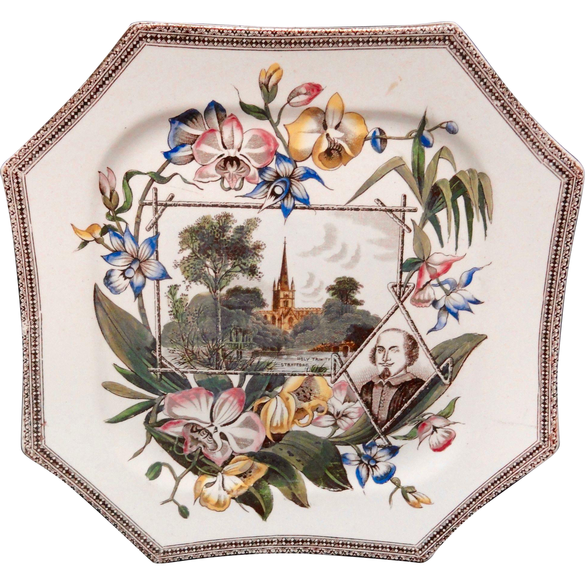 Shakespeare WORLD Holy Trinity Church Plate ~ 1884