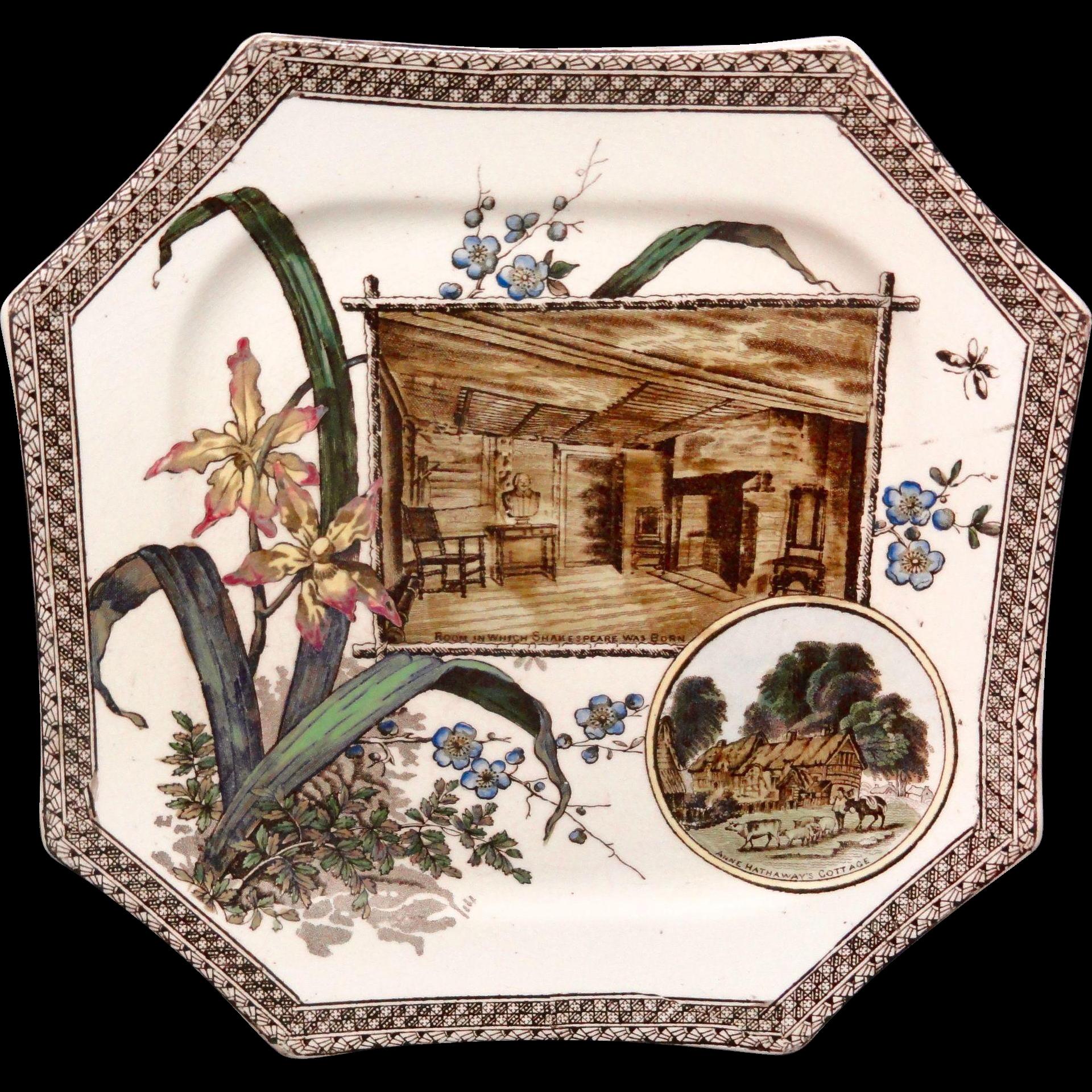 SHAKESPEARE Anne Hathaway WORLD Brown Transferware Plate ~ 1884