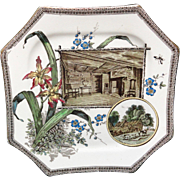 WORLD SHAKESPEARE Brown Transferware Plate ~ 1884