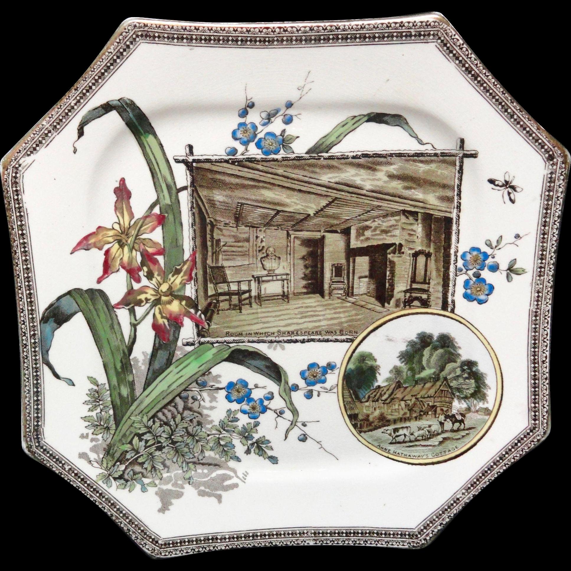WORLD SHAKESPEARE Brown Transferware Plate ~ 1884