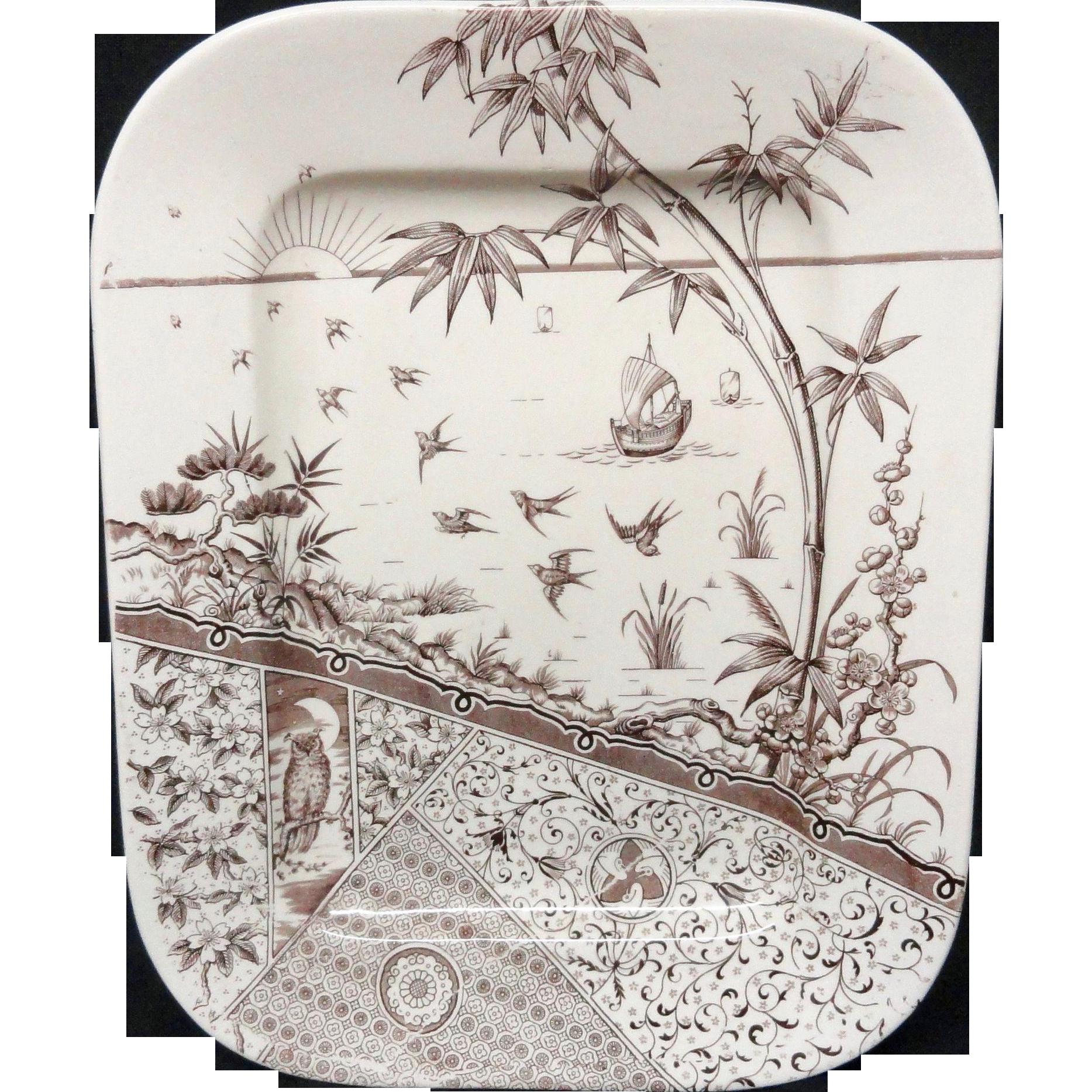 Brown Transferware OWL Staffordshire PLATTER ~ MELBOURNE 1883