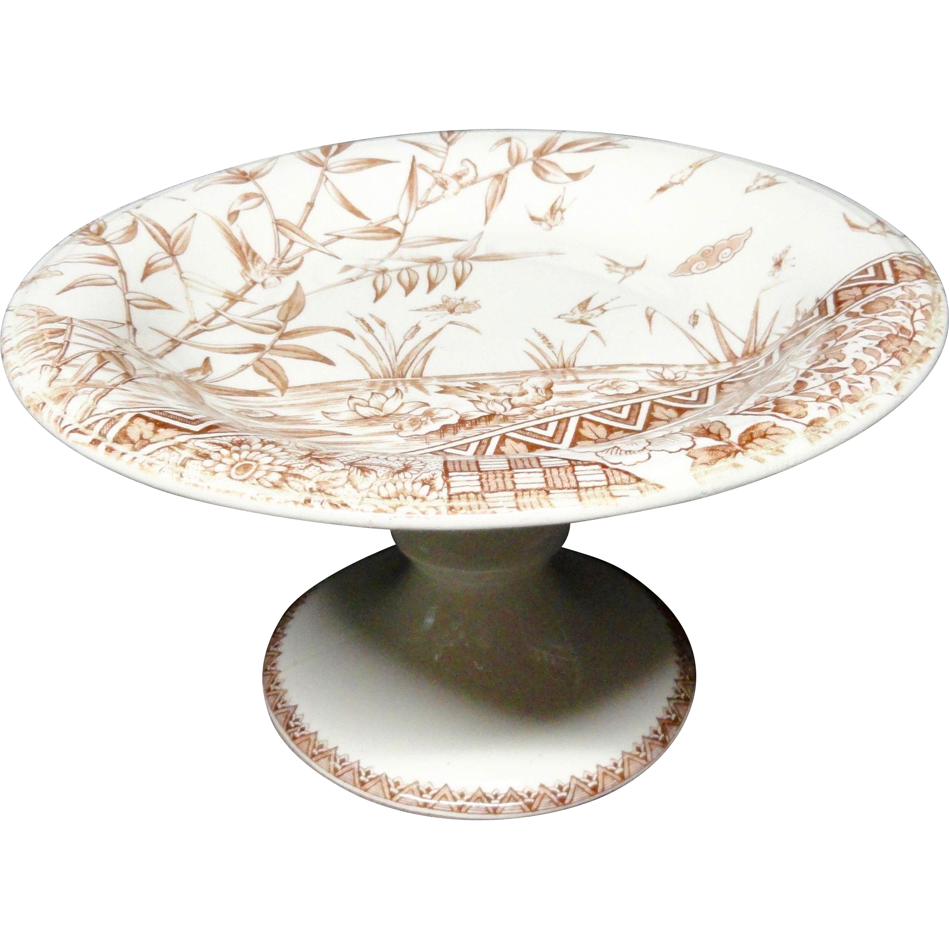 Brown Transferware Cake Tazza Plate ~ BURMAH 1883