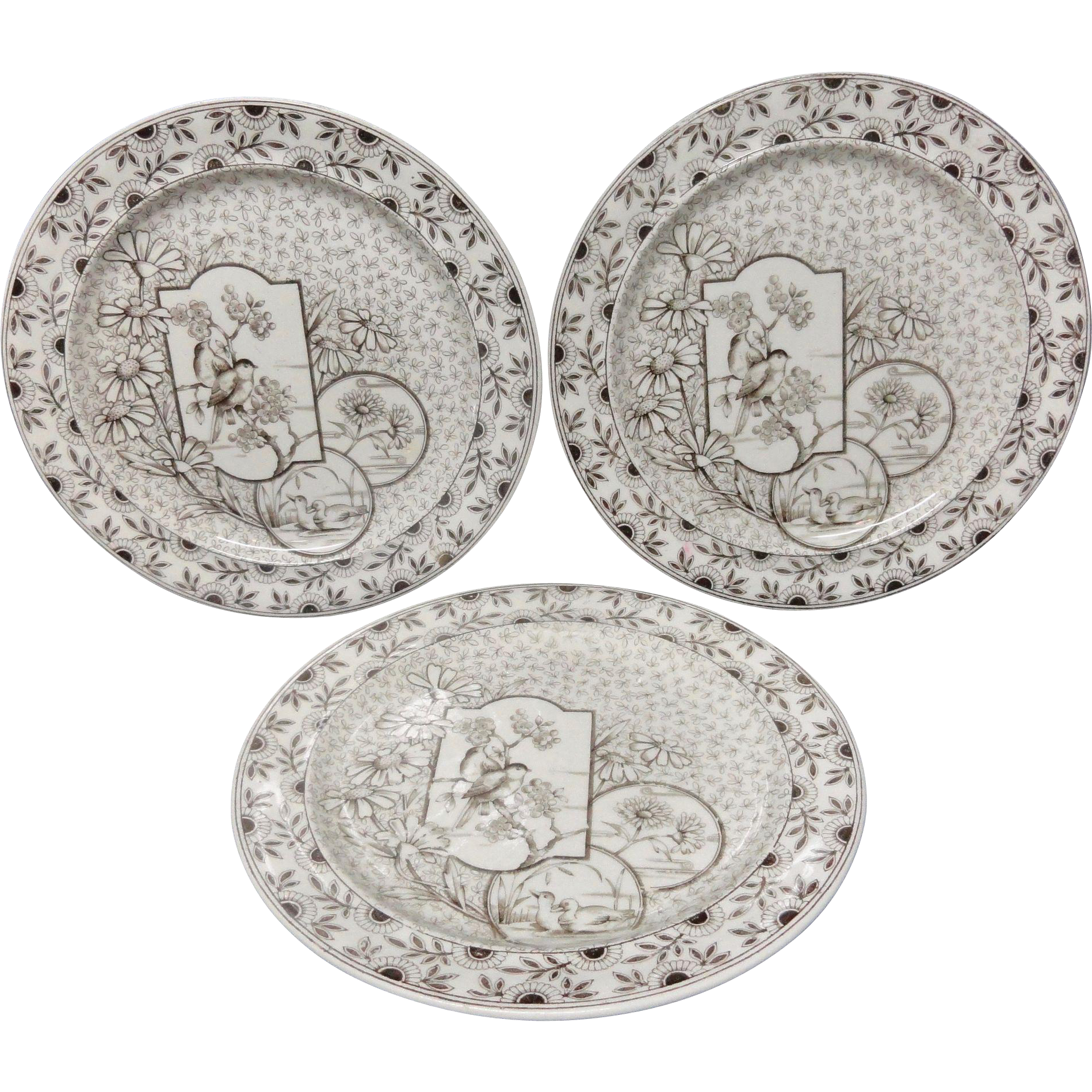 Three Brown Transferware Plates ~ Devonshire ~ 1885