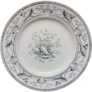 English Nantasket Transfer Plate ~ Seaweed Seashells 1876