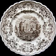 Brown Staffordshire Transferware Plate ~ POMERANIAN ~ 1840