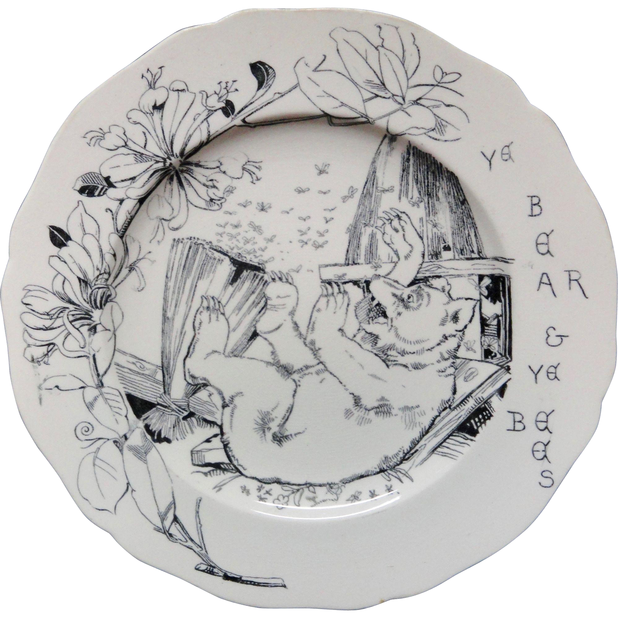 1870 Aesop's Fables BEAR BEES Copeland Plate