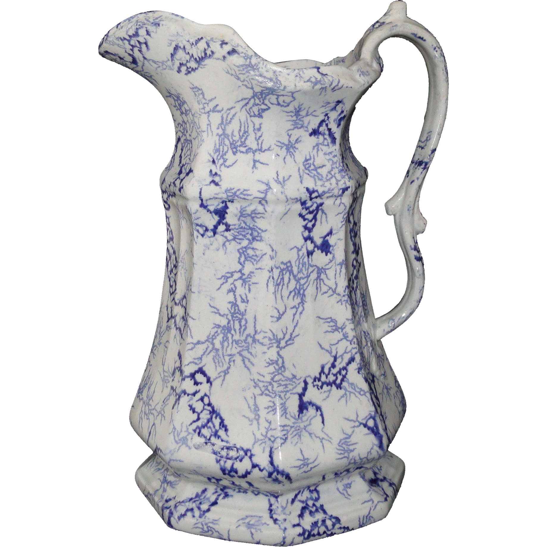 Tall Flow Blue Ironstone Pitcher Jug SEAWEED MARBLE Staffordshire 1840