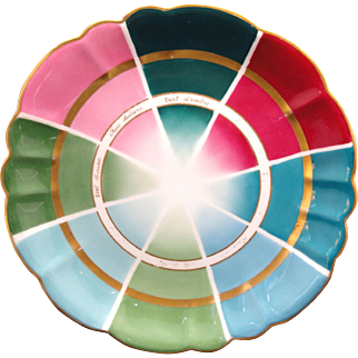 Rare French Limoges Color Wheel Salesmans Sample Charger 1890