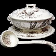 Rare Wedgwood SEAWEED Soup Tureen & Platter & Ladle  ~ 1883