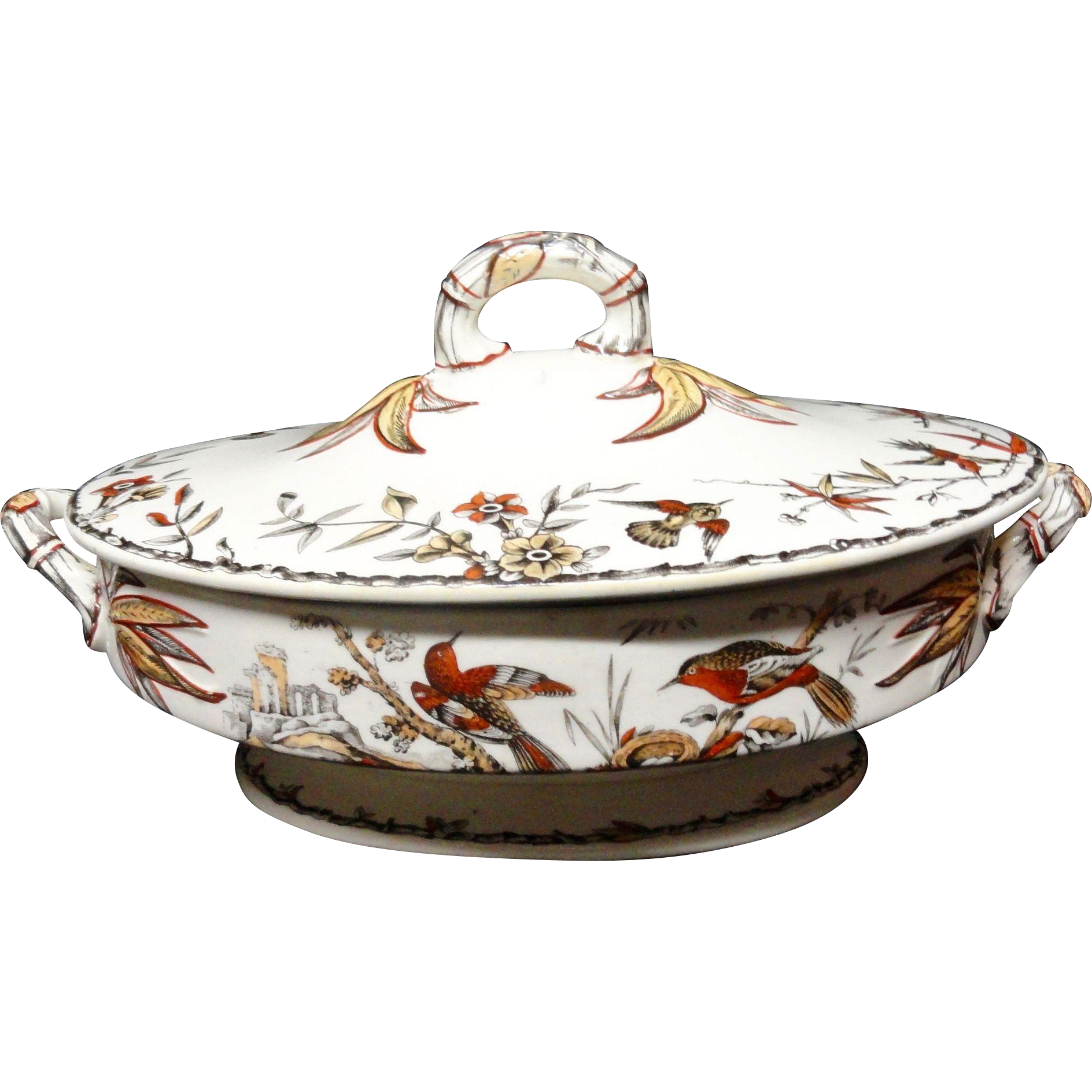 Polychrome Transferware HAWK BIRDS Tureen ~ Indus 1885