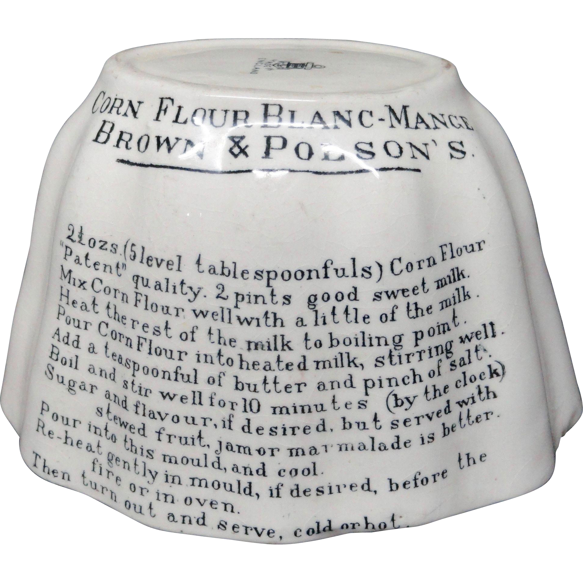 Large Size Victorian Ironstone Advertising Pudding Mold ~ 1891