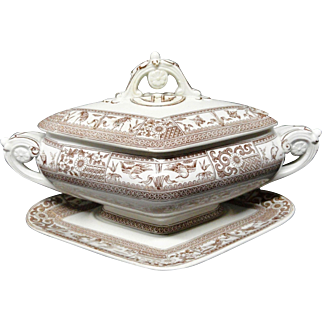 EXC Victorian Brown Transfer Covered Tureen ~ KIOTO 1880