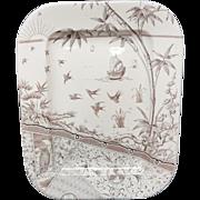 Very Large OWL Aesthetic Movement Brown Transferware Platter ~ Melbourne 1883