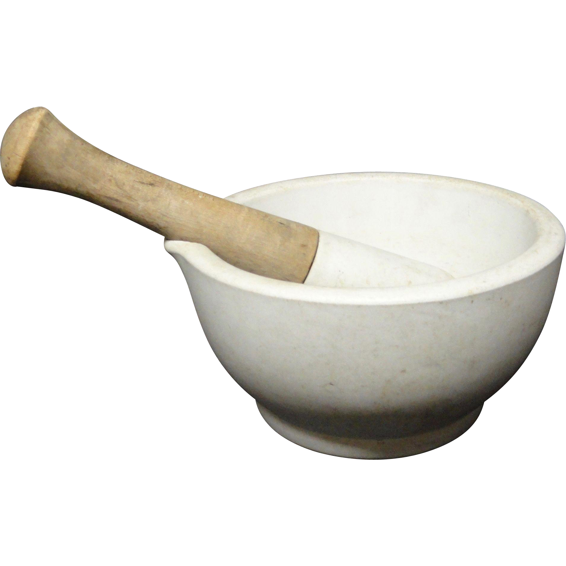 Antique Stoneware Large Heavy Mortar and Pestle 1890
