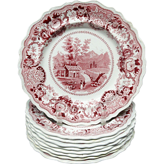 TEN ~ Red Staffordshire Historical Plates ~ 1835 ~ Conway New Hampshire