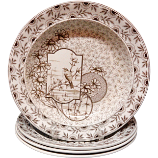 4 ~ Antique Victorian Brown Transferware Soup Plates ~ DEVONSHIRE 1885