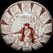 Rare Brown 1892 Advertising Ceramic Paperweight ~ Christopher Columbus