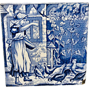 Dark Blue ~ Wedgwood Months ~ AUGUST ~ Feeding Chickens ~ 1879