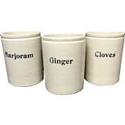 Three Stoneware Condiment Storage Jars