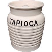 Edwardian White Banded Kitchen Storage Jar ~ Tapioca ~ c 1920